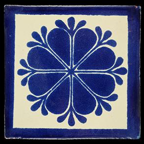 Hand Painted Tile Casa Amapola Azul con Marco 2309
