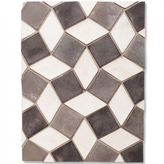 Arto 3x3 3x5 Mini Diamond Signature Concrete Tile - Montage Gray