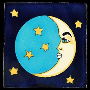 Hand Painted Tiles Casa Luna Con Estrellas