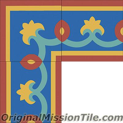 Original Mission Tile Cement Border Cox - 8 x 8
