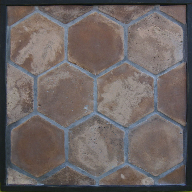 & Arto 8x8 Hexagon Artillo Classic Concrete Tile - Cotto Dark Vintage