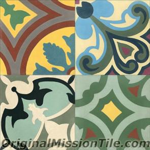 Original Mission Tile Cement Patchwork I - 8 x 8