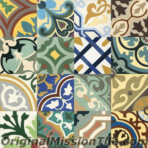 Original Mission Tile Cement Patchwork I - 8 x 8