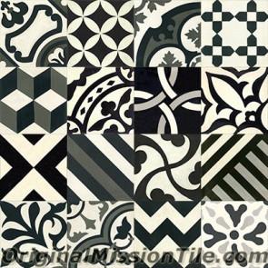 Original Mission Tile Cement Patchwork II - 8 x 8