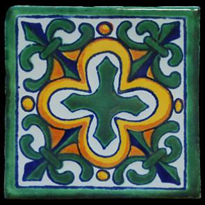 Hand Painted Tiles Casa Flor De Liz Verde 3217