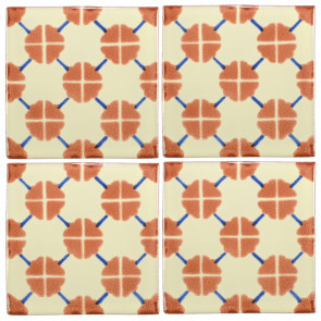 Clover Brown/Blue Decorative Talavera Blanco
