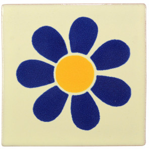 Daisy Blue/Yellow Decorative Talavera Blanco