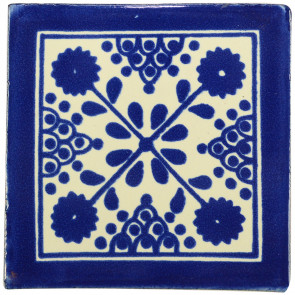 Damasco Blue Decorative Talavera Blanco