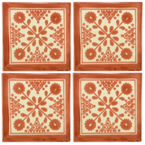 Damasco Brown Decorative Talavera Blanco