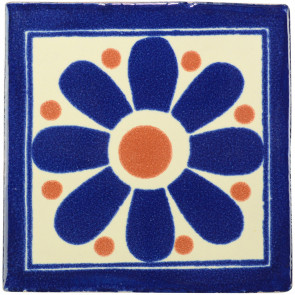 Daisy May Blue/Brown Decorative Talavera Blanco