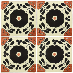 Hacienda Black/Brown Decorative Talavera Blanco