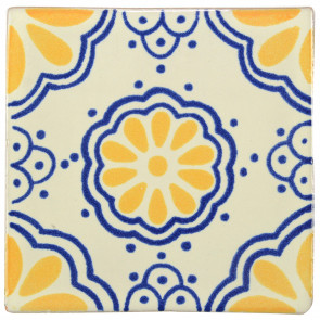 Lace Blue/Yellow Decorative Talavera Blanco