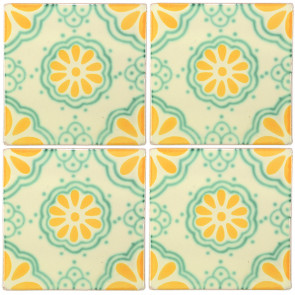 Lace Green/Yellow Decorative Talavera Blanco