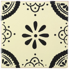 Madrid Black Decorative Talavera Blanco