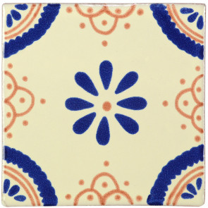 Madrid Blue/Brown Decorative Talavera Blanco