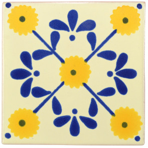 Margarite Blue/Yellow Decorative Talavera Blanco