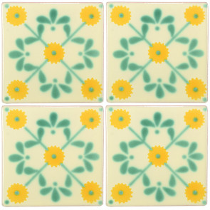 Margarite Green/Yellow Decorative Talavera Blanco