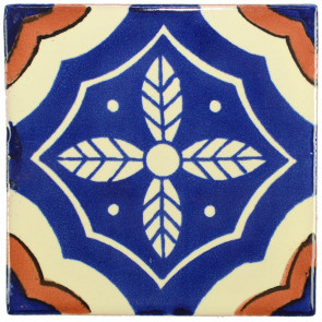 Palacio Blue/Brown Decorative Talavera Blanco