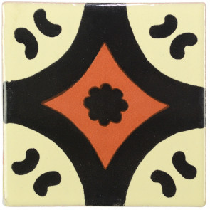 Puebla Black/Brown Decorative Talavera Blanco