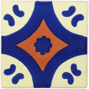 Puebla Blue/Brown Decorative Talavera Blanco