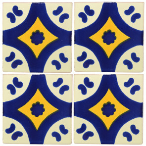 Puebla Blue/Yellow Decorative Talavera Blanco