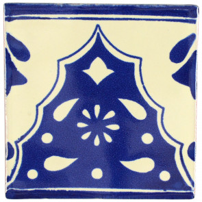 Sierra Blue Decorative Talavera Blanco