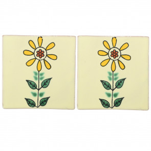 Sunflower Decorative Talavera Blanco