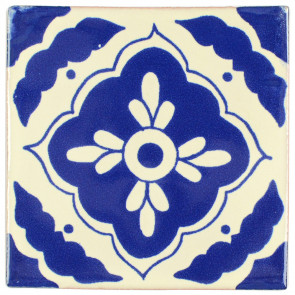 Toledo Blue Decorative Talavera Blanco