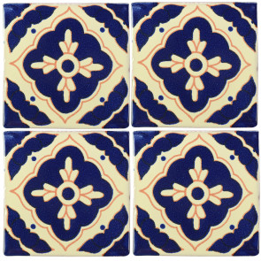 Toledo Blue/Brown Decorative Talavera Blanco