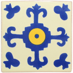 Valencia Blue/Yellow Decorative Talavera Blanco