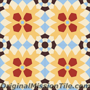 Original Mission Tile Cement Encanto Luisa 17 - 8 x 8