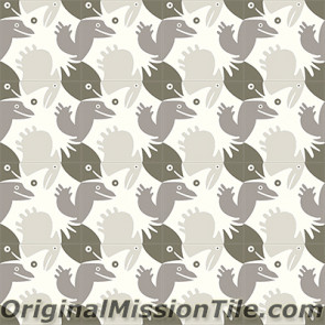 Original Mission Tile Cement Santa Barbara Bird & Friends - 8 x 8
