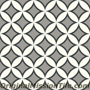 Original Mission Tile Cement Contemporary Circle II 02 - 8 x 8