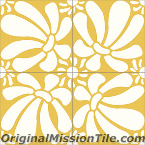 Original Mission Tile Cement Santa Barbara Echinacea - 8 x 8