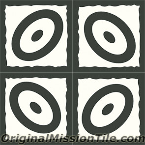 Original Mission Tile Cement Santa Barbara Ellipse - 8 x 8