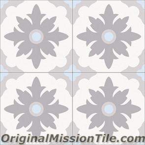 Original Mission Tile Cement Accent Flor Mexico - 8 x 8
