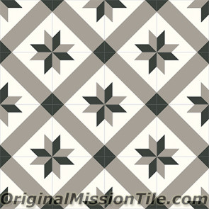 Original Mission Tile Cement Contemporary Estrella Mex 02 - 8 x 8