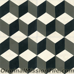 Original Mission Tile Cement Contemporary Harlequin 06 - 8 x 8