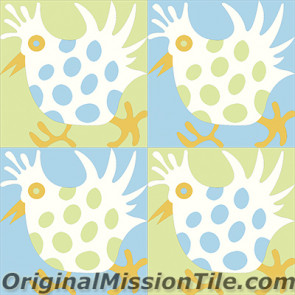 Original Mission Tile Cement Santa Barbara Hen - 8 x 8