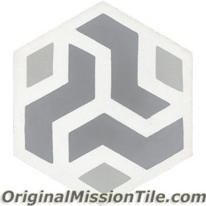 Original Mission Tile Cement Hexagonal Amy 02 - 8 x 8
