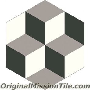 Original Mission Tile Cement Hexagonal Harlequin 01 - 8 x 8