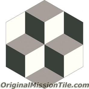 Original Mission Tile Cement Hexagonal Harlequin 01 - 8 x 8