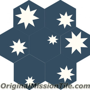 Original Mission Tile Cement Hexagonal Star 01 - 8 x 8