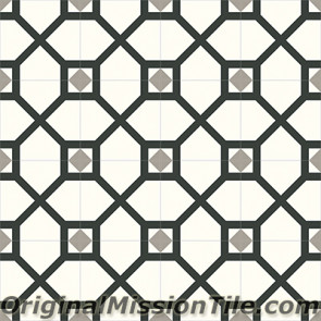 Original Mission Tile Cement Contemporary Lattice 01 - 8 x 8