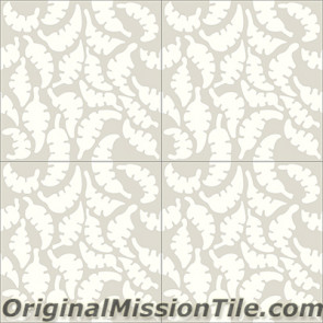 Original Mission Tile Cement Santa Barbara Leaf - 8 x 8