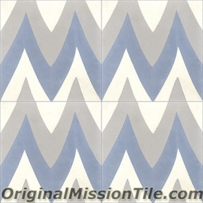 Original Mission Tile Cement Santa Barbara Leaf Zag - 8 x 8