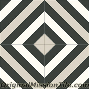 Original Mission Tile Cement Contemporary Ligne Brisee 04 - 8 x 8