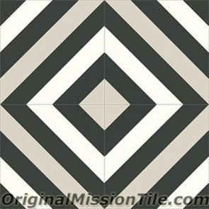 Original Mission Tile Cement Contemporary Ligne Brisee 04 - 8 x 8