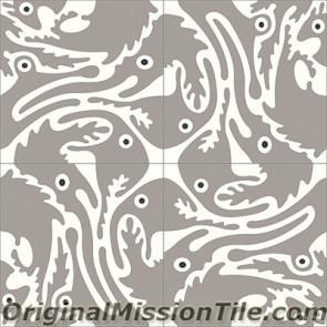 Original Mission Tile Cement Santa Barbara Long Nosed Fish - 8 x 8