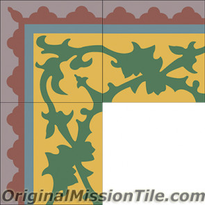 Original Mission Tile Cement Border McNay - 8 x 8